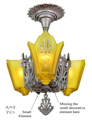 Art Deco Chandelier 3 Slip Shade Antique Ceiling Light Circa 1930 (ANT-725)