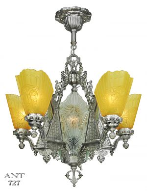 Art Deco 5 Arm Chandelier with Cut Glass Center Panels Ceiling Light (ANT-727)