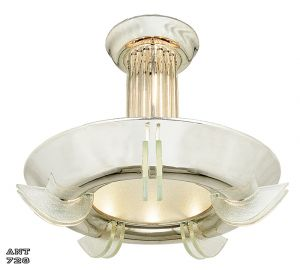 Art Deco Streamline Aluminum and Glass Bowl Chandelier Circa 1930s (ANT-728)
