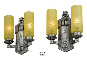 1920s Wall Sconces Pair of Antique Double Arm Lights Vintage Fixtures (ANT-729)