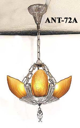 Original Lincoln Fleurette Slip Shade Chandelier Amber Shades (ANT-72A)