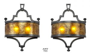 Arts and Crafts Style Pair of Wall Sconces Rewired Mica Shade Lights (ANT-733)