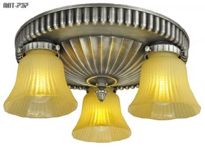 Art Deco Semi Flush Mount Chandeliers Pair 1920s Close Ceiling Lights (ANT-737)