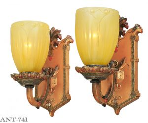 Edwardian Style Pair of Antique Wall Sconces Circa 1910 - 1920 Lights (ANT-741)