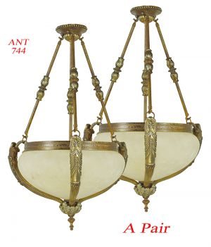 Vintage Rewired Pair of Edwardian Chandeliers Ceiling Bowl Lights (ANT-744)