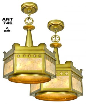 Vintage hardware lighting arts and crafts craftsman and antique 1920s pair of rewired chandeliers mica panel gothic lights ant 746 aloadofball Image collections