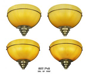 Set of 4 Vintage Wall Sconces Amber Holophane Style Slip Shade Lights (ANT-748)