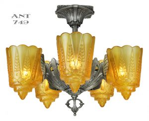 Art Deco Antique Chandelier Two in One Slip Shade Light by Lincoln (ANT-749)