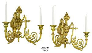 Antique Pair of Candlestick Sconces Wall Mount 2 Arm Candle Holders (ANT-750)