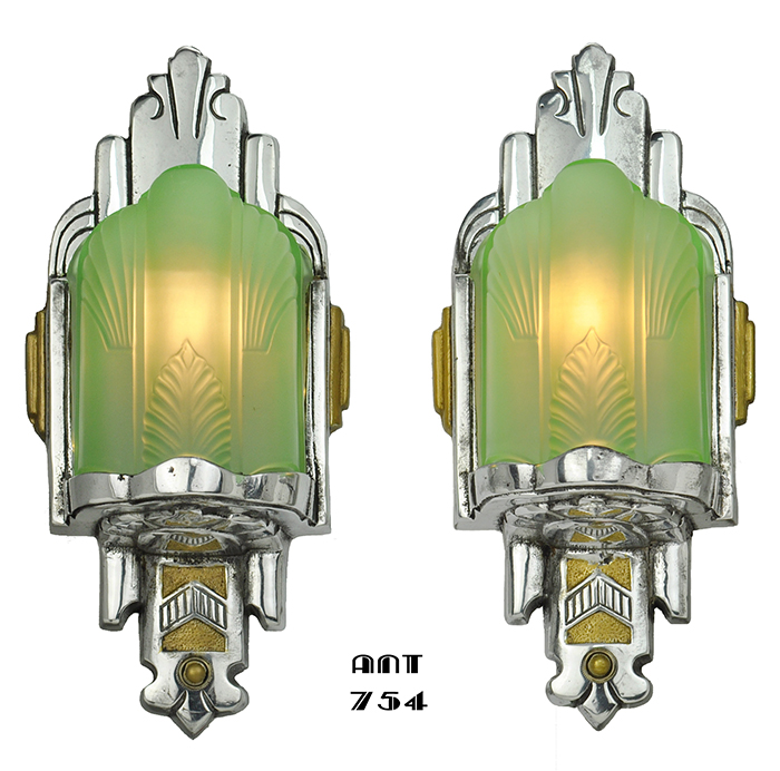 Vintage Hardware & Lighting - Art Deco Antique Nickel Wall Sconces ...