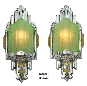 Art Deco Antique Nickel Wall Sconces Pair of Green Slip Shade Lights (ANT-754)