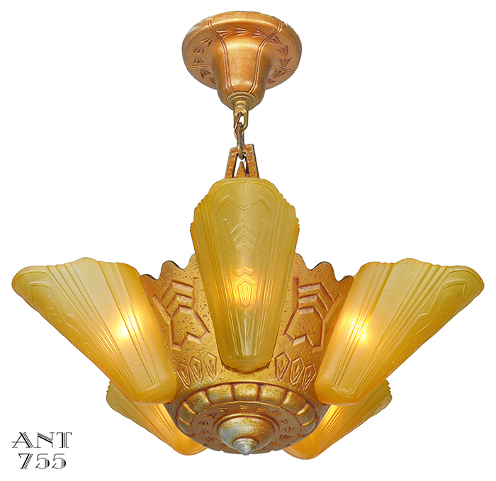 Vintage hardware lighting art deco slip shade chandelier description aloadofball Gallery