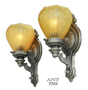Edwardian Wall Sconces Antique 1920s Pair of Lights with Amber Shades (ANT-759)