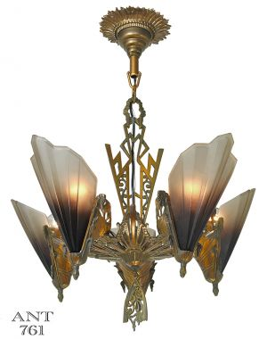 Antique Art Deco Chandelier 5 Slip Shade Soleure Light by Mid West (ANT-761)