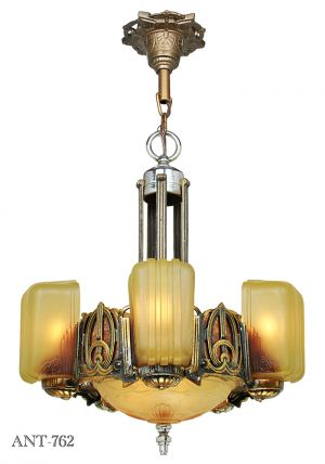 Art Deco Chandelier Antique 6 Light Slip Shade 1930s Ceiling Fixture (ANT-762)