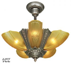Art Deco Slip Shade Chandelier Antique 5 Light Ceiling Fixture Puritan (ANT-766)