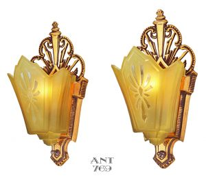 Art Deco Antique Wall Sconces Slip Shade Red Bronze Lights Fixtures (ANT-769)