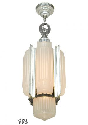 Antique 1930s Art Deco Pendant Ceiling Light Chandelier by Lightolier (ANT-772)