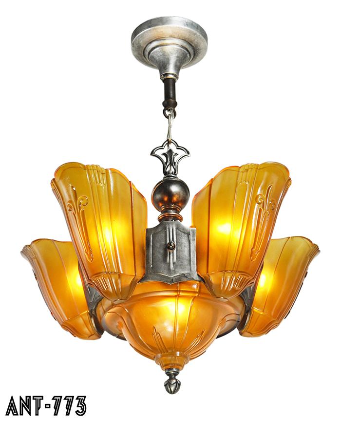 Vintage hardware lighting art deco original 6 light slip shade mgctlbxnmzp mgctlbxv5111 mgctlbxlc aloadofball Gallery