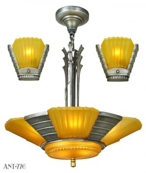 Art Deco Streamline Matching Set Antique Chandelier and Wall Sconces (ANT-776)