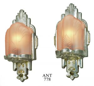 Art Deco Wall Sconces Antique Pink Slip Shade Lights 1930s Lighting (ANT-778)