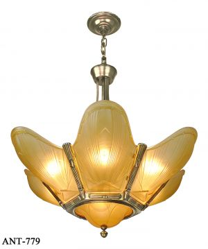 French Art Deco 7 Light Chandelier Vintage Slip Shade Ceiling Fixture (ANT-779)