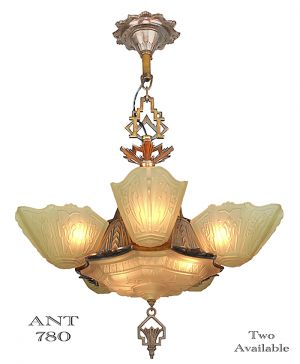 Art Deco 6 Shade Chandelier by Markel Circa 1935 Antique Light (ANT-780)