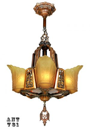 Art Deco Chandelier Antique 5 Light Slip Shade Ceiling Light Fixture (ANT-781)