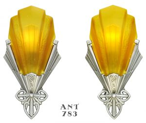 Art Deco Antique Slip Shade Sconces Pair 1930s Wall Lights by Virden (ANT-783)