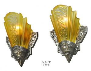 Art Deco Americana Wall Sconces Pair of Antique Slip Shade Lights (ANT-784)