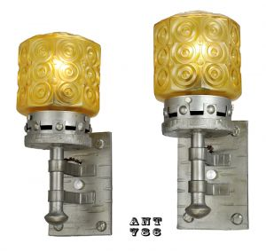 Gothic Style Lights Antique Wall Sconces Circa 1920s Pair of Fixtures (ANT-786)