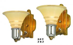 Art Deco Streamline Wall Sconces Antique 30s Pair Electrolier Lights (ANT-787)