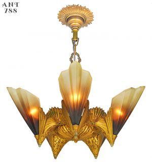 Antique Mid West Mnf Art Deco Chandelier 5 Slip Shade Ceiling Light (ANT-788)