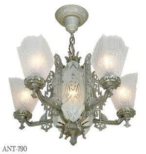 Art Deco Antique Chandelier with Cut Glass Center 5 Arm Ceiling Light (ANT-790)