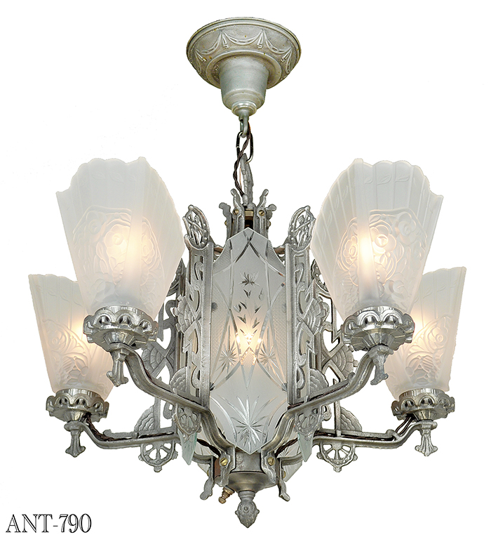 Vintage hardware lighting art deco antique chandelier with cut description mozeypictures Images