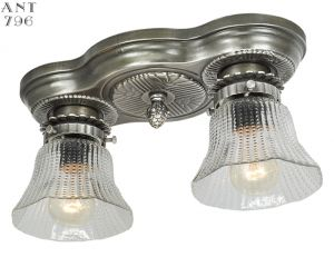 Art Deco Streamline Flush Mount 2-Light Antique Close Ceiling Fixture (ANT-796)