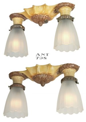 Pair Of Flush Mount Ceiling Lights Antique 1920s Lighting Fixtures (ANT 798)