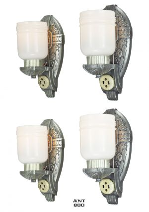 Antique Art Deco Wall Sconces American Design Set of 4 Light Fixtures (ANT-800)