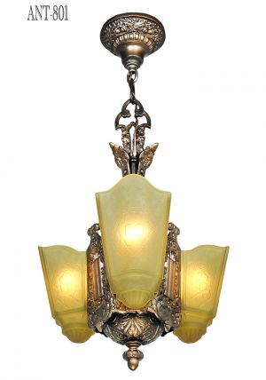 Art Deco Chandelier 3 Slip Shade Antique Ceiling Light by Moe Bridges (ANT-801)