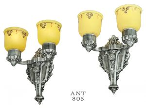 Art Deco or Edwardian Pair Antique Double Arm Wall Sconces by Riddle (ANT-805)