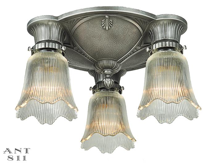 Art Deco Close Ceiling Fixture Flush Mount Antique 3 Light Chandelier Ant 811
