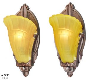 Art Deco Pair Of Antique Wall Sconces Slip Shade 1930s Light Fixtures  (ANT 813