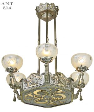 Vintage hardware lighting ceiling chandelier lights art nouveau or deco french chandelier antique ceiling light fixture ant 814 aloadofball Choice Image