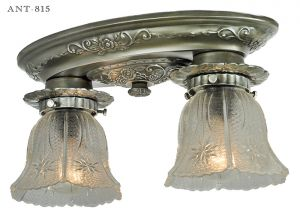 Edwardian Style Flush Mount Close Ceiling Fixture Antique 2-Light (ANT-815)
