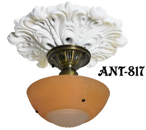 Antique Glass 3 Chain Ceiling Bowl Light Fixture (ANT-817)