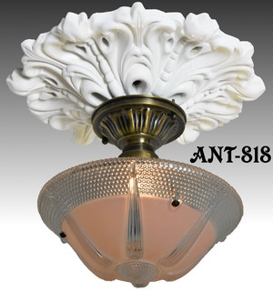Antique Glass 3 Chain Ceiling Bowl Light Fixture (ANT-818)