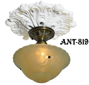 Antique Glass 3 Chain Ceiling Bowl Light Fixture (ANT-819)