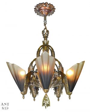 Art Deco Slip Shade Bronze Chandelier Antique Soleure Ceiling Fixture (ANT-819)