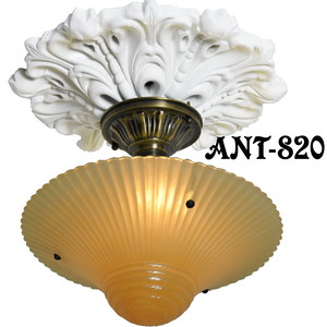 Antique Glass 3 Chain Ceiling Bowl Light Fixture (ANT-820)