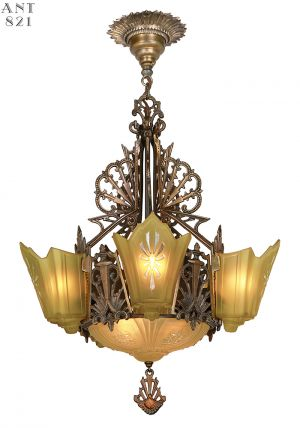 1930s Art Deco Chandelier Slip Shade Ceiling Light Antique Fixture (ANT-821)